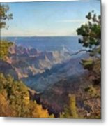 Grand Canyon View With Trees Metal Print