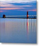 Grand Haven Pier Lights At Night Metal Print