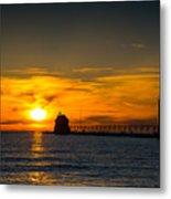 Grand Haven Sunset Metal Print