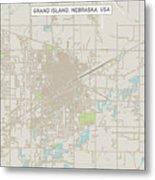 Grand Island Nebraska Us City Street Map Metal Print