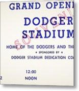Grand Opening Dodger Stadium Ticket Stub 1962 Metal Print