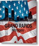 Grand Rapids Mi American Flag Squared Metal Print