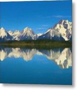 Grand Teton Reflection Wood Texture Metal Print