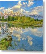 Grand Teton Riverside Morning Reflection Metal Print