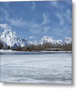Grand Tetons And Snake River From Oxbow Bend Metal Print