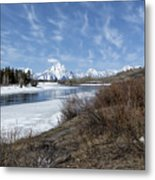 Grand Tetons From Oxbow Bend At A Distance Metal Print