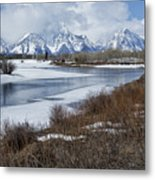 Grand Tetons From Oxbow Bend Metal Print