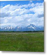 Grand Tetons Meadow Panarama Metal Print