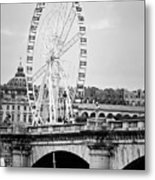 Grande Roue In Paris - Black And White Metal Print