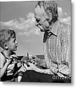 Grandfather And Boy With Model Plane Metal Print