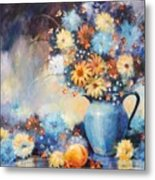 Grandmas Blue Pitcher Metal Print