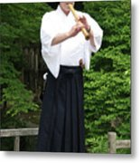 Grandmaster Playing Shakuhachi Metal Print