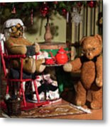 Grandpa And Grandma Teddy Bears' Christmas Eve Metal Print