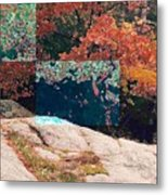 Granite Outcrop And Fall Leaves Aep2 Metal Print