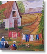 Granny And Her Laundry Metal Print by Janna Columbus