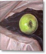 Granny Apple On Velvet And Satin - Sold Metal Print