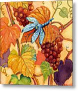 Grapes And Dragonfly Metal Print