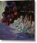 Grapes And Glass Metal Print