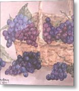 Grapes In Basket Metal Print
