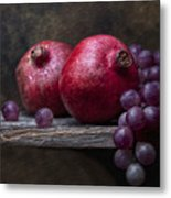 Grapes With Pomegranates Metal Print