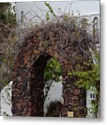 Grapevine Covered Stone Garden Door Metal Print
