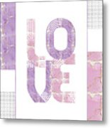 Graphic Art Gold Love - Rose And Violet Metal Print