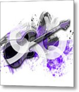 Graphic Art Guitar - Purple Metal Print