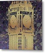Graphic Art London Big Ben - Ultraviolet And Golden Metal Print