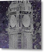 Graphic Art London Big Ben - Ultraviolet And Silver Metal Print