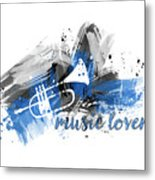 Graphic Art Music Lover - Blue Metal Print