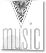 Graphic Art Silver Music On - World Off Metal Print