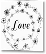 Graphic Black And White Flower Ring Of Love Metal Print