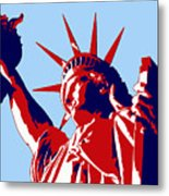 Graphic Statue Of Liberty Red White Blue Metal Print