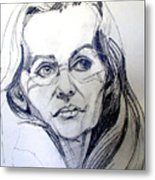Graphite Portrait Sketch Of A Woman With Glasses Metal Print