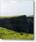 Grass Fields Surrounding The Cliff's Of Moher Metal Print
