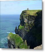 Grass Growing Along The Cliff's Of Moher In Ireland Metal Print