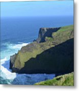Grass Growing Along The Sea Cliffs In Ireland Metal Print