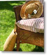 Grass Lawn With A Wicker Chair  Metal Print