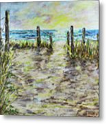 Grassy Beach Post Morning 2 Metal Print