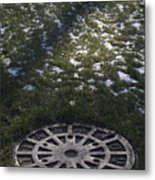 Grassy Manhole Metal Print