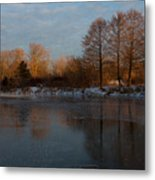 Gray And Amber - An Early Winter Morning On The Lake Shore Metal Print