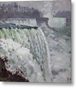 Gray And Cold At American Falls Metal Print