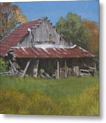 Gray Farm Building Metal Print