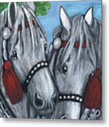 Gray Horses Metal Print by Anna Folkartanna Maciejewska-Dyba