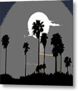 Gray Palms Metal Print