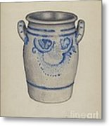 Gray Pottery Jar Metal Print