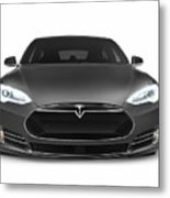 Gray Tesla Model S Luxury Electric Car Front View Isolated On Wh Metal Print