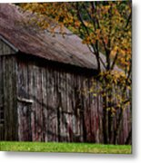 Gray Weathered Barns Number Three Metal Print