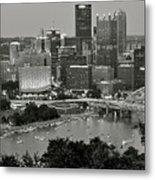 Grayscale Pittsburgh Metal Print