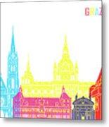 Graz Skyline Pop Metal Print